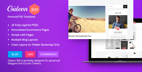 Gideon 300 - Personal Blog, LMS and eCommerce PSD Template - Personal PSD Templates