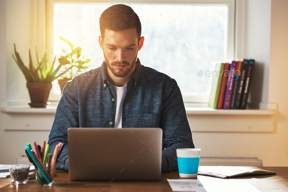 Entrepreneur working at a laptop computer - Stock Photo - Images