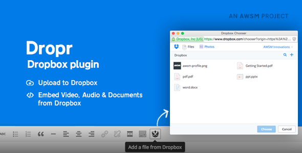 Dropr - Dropbox Plugin for WordPress - CodeCanyon Item for Sale