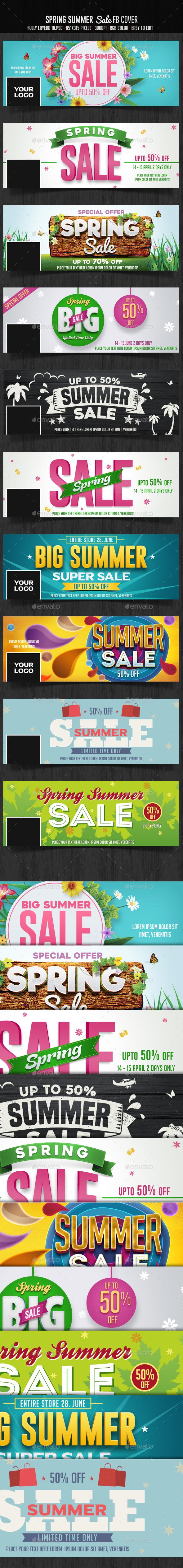 10 Spring Summer Sale Facebook Cover - Social Media Web Elements