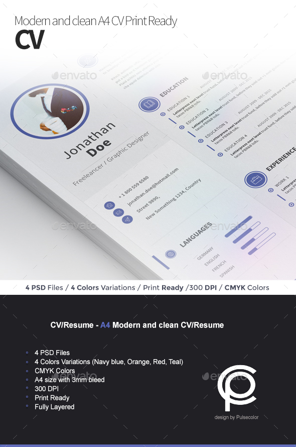 CV/Resume - Modern and clean - Resumes Stationery