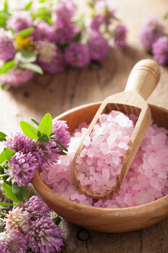 spa with pink herbal salt and clover flowers - Stock Photo - Images