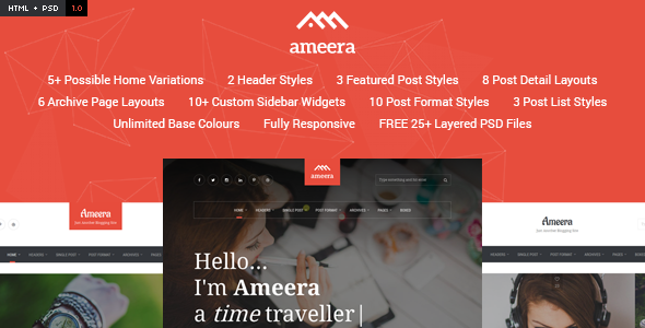 Ameera HTML – Clean and Minimal Blogging Template