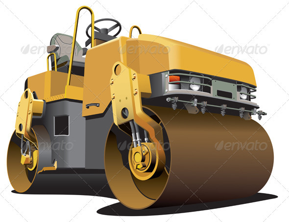 Small Road Roller - Objects Vectors