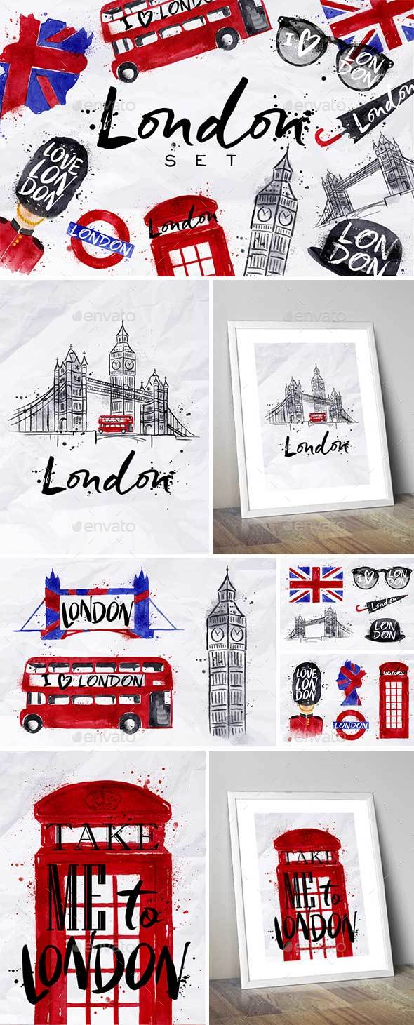 London Set - Objects Illustrations