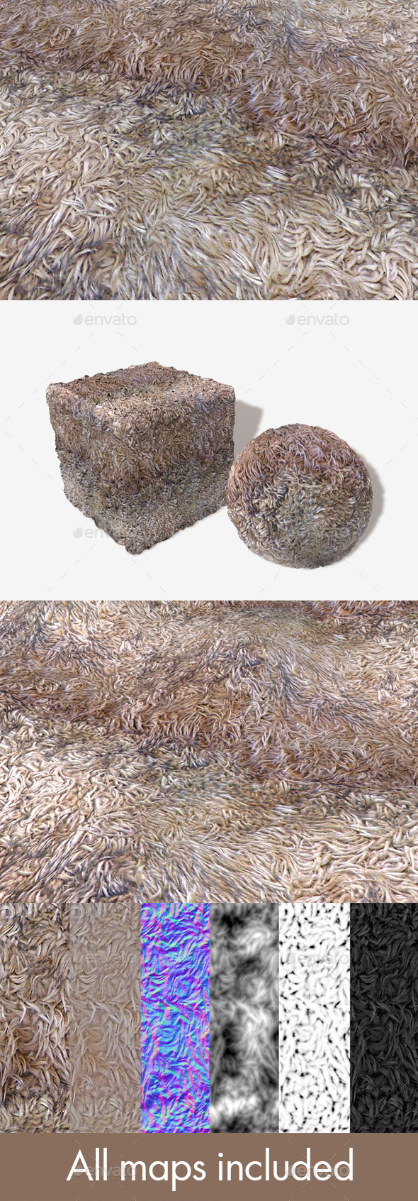Faux Fur Rug Seamless Texture - 3DOcean Item for Sale