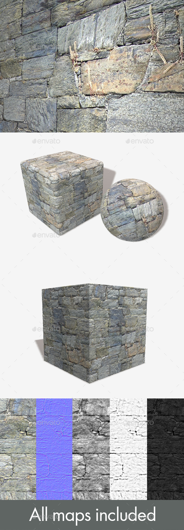 Shaped Rock Wall Seamless Texture - 3DOcean Item for Sale