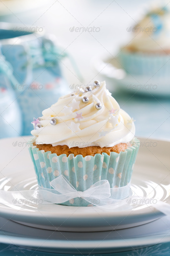 Cupcake for a baby shower - Stock Photo - Images