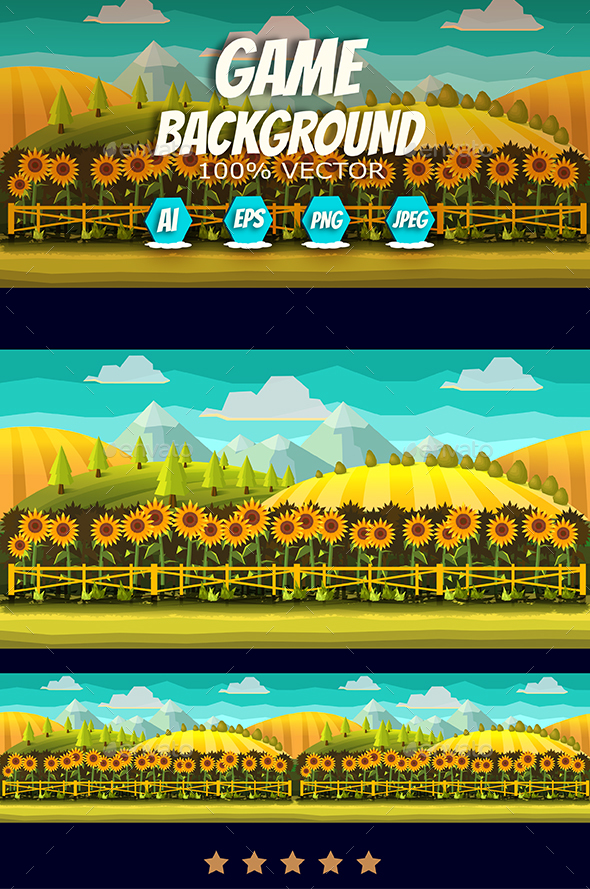 Sunflowers Game Background - Backgrounds Game Assets