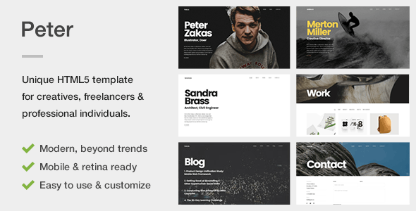 Peter – A Unique Portfolio Template for Creatives, Freelancers & Professional Individuals