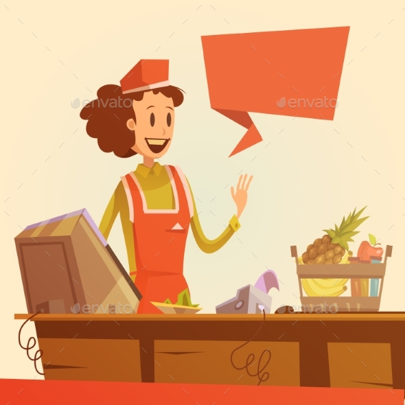 Saleswoman Retro Illustration - Retail Commercial / Shopping