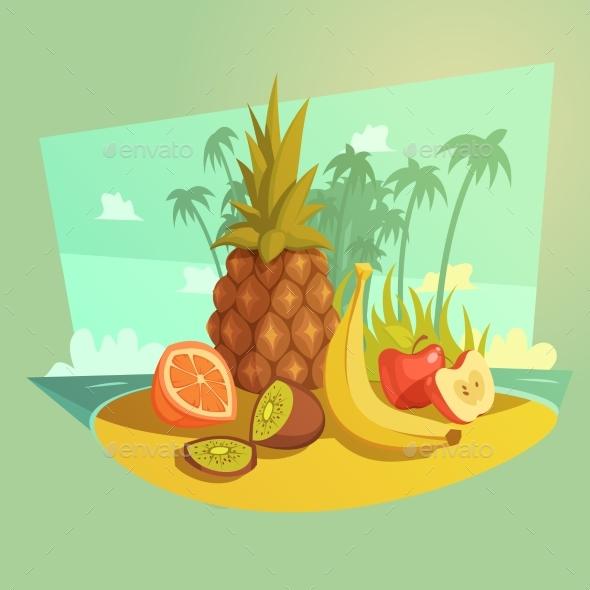 Fruit Cartoon Concept - Travel Conceptual
