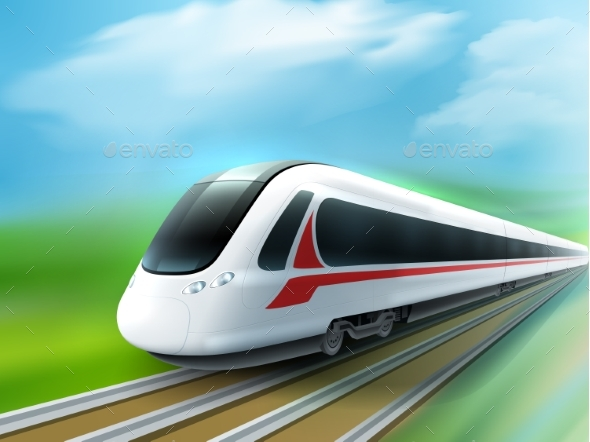 High-speed Day Train Realistic Image - Travel Conceptual