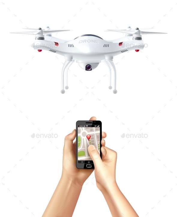 Drone and Smartphone with Navigation App - Decorative Symbols Decorative