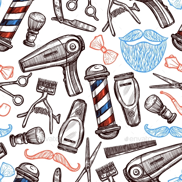 Barber Shop Attributes Doodle Seamless Pattern  - Backgrounds Decorative
