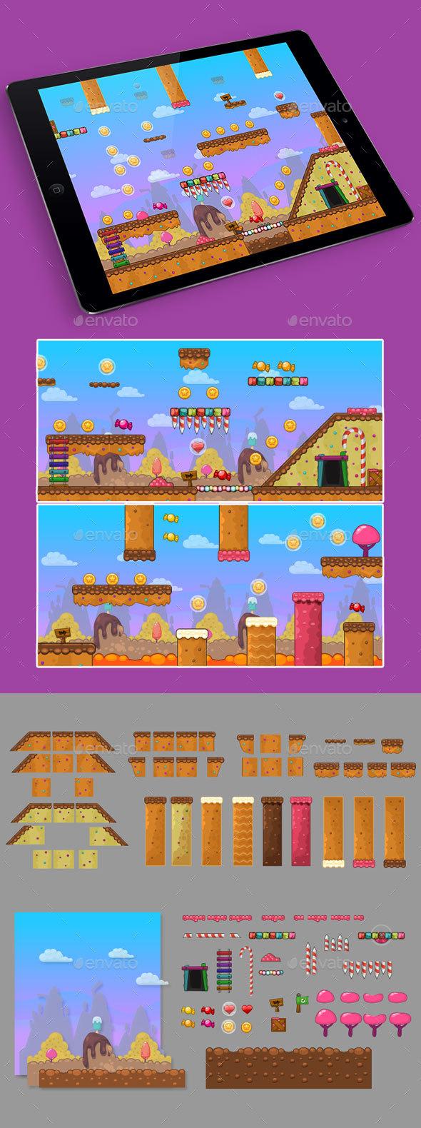 2D Candy Game Platformer Tilesets - Tilesets Game Assets