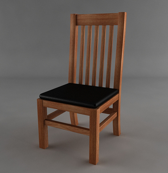 Wooden Chair with Leather Seat - 3DOcean Item for Sale