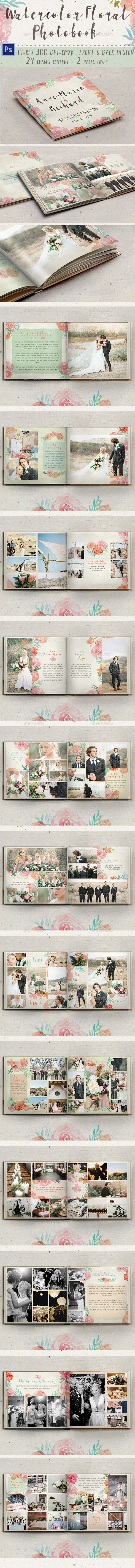 Watercolor Floral Photobook - Photo Albums Print Templates