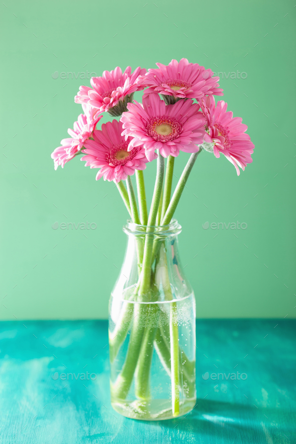 beautiful pink gerbera flowers bouquet in vase - Stock Photo - Images