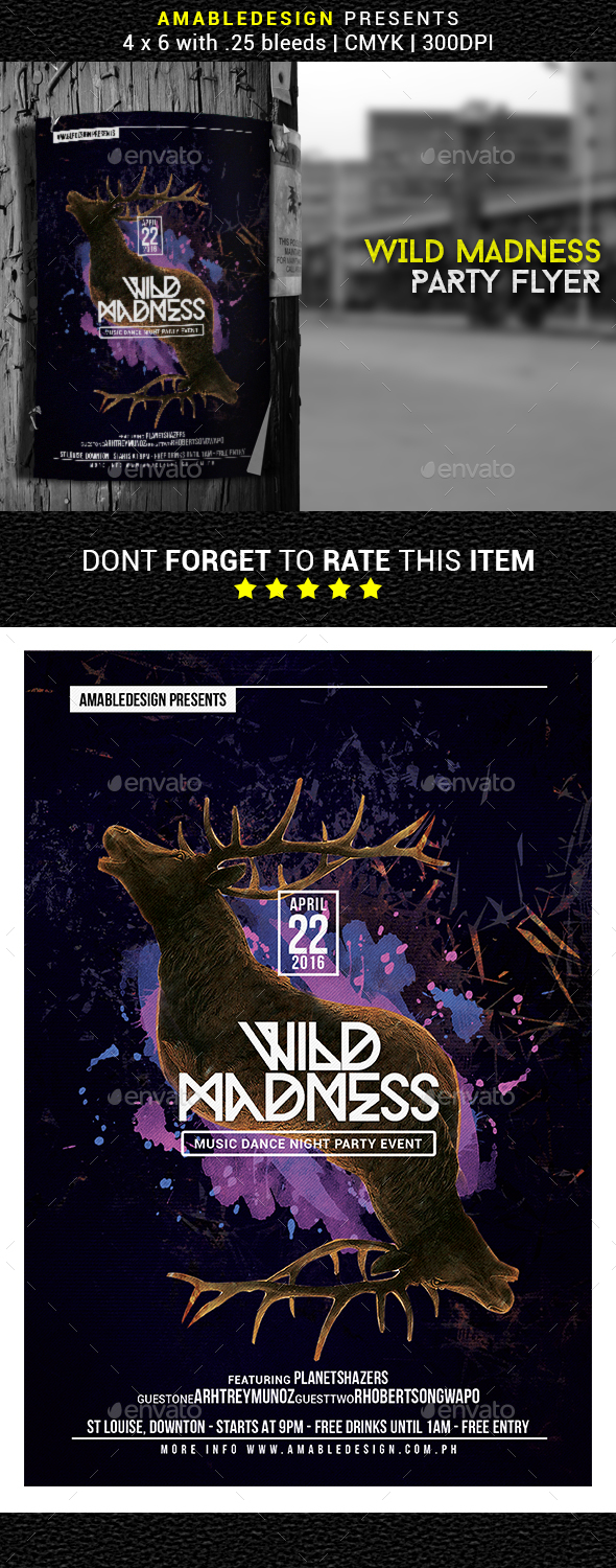 Wild Madness Flyer/Poster - Clubs & Parties Events