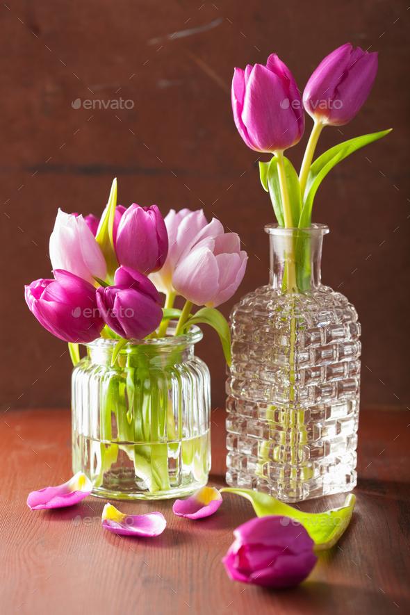 Beautiful Purple Tulip Flowers Bouquet In Vase Stock Photo By Duskbabe