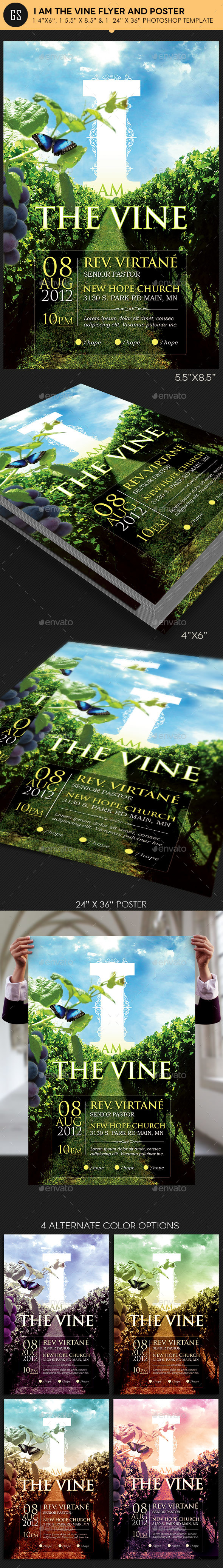 I Am The Vine Church Flyer Poster Template - Church Flyers