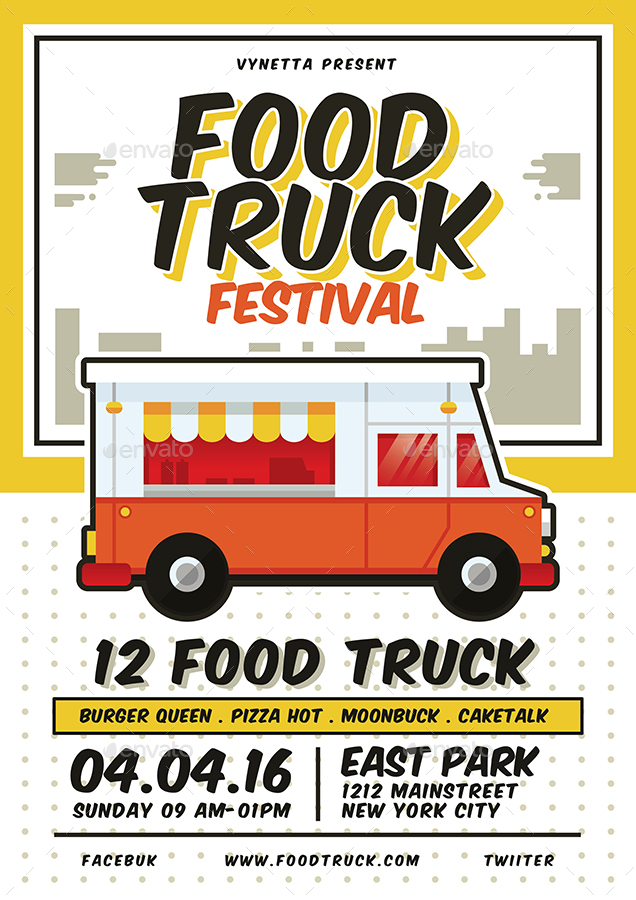Food Truck Festival Poster Flyer Menu By Vynetta