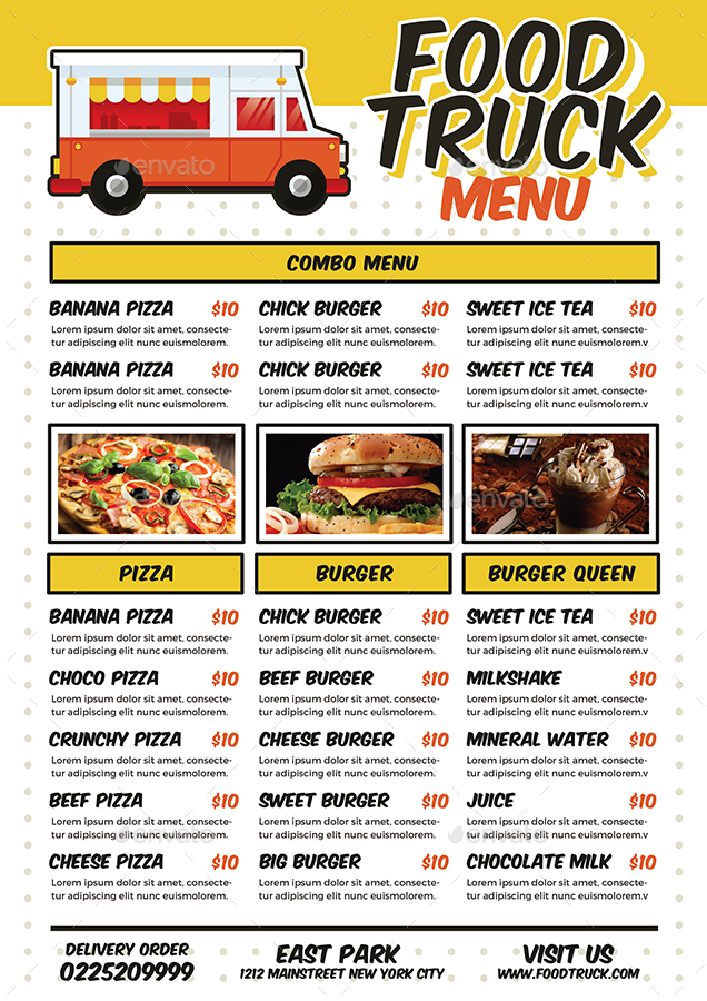 Food Truck Festival Poster/Flyer/Menu By Vynetta | Graphicriver