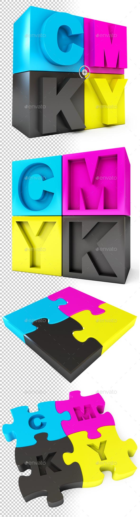 CMYK Puzzle - Objects 3D Renders