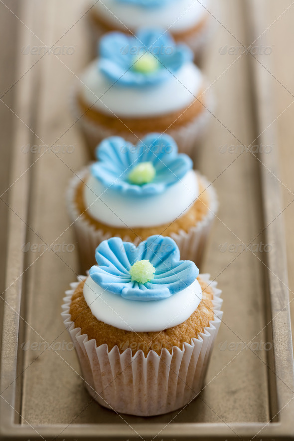 Blue mini flower cupcakes - Stock Photo - Images