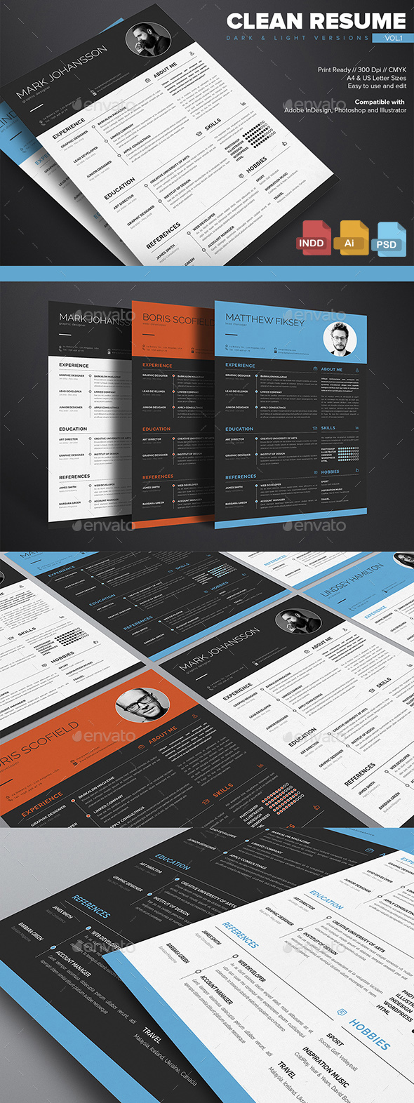 Clean Resume Template Vol.1 - Resumes Stationery
