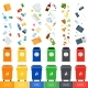 Trash Cans with Sorted Garbage - GraphicRiver Item for Sale
