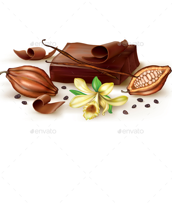 Vanilla Chocolate and Cocoa Fruit - Food Objects