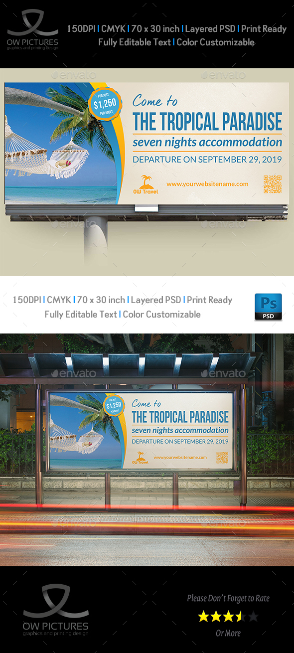 Tour and Travel Billboard Template - Signage Print Templates
