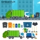Garbage Truck on The Street Near Trash Cans - GraphicRiver Item for Sale