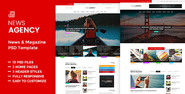 News Agency -  News Magazine Newspaper - Miscellaneous PSD Templates
