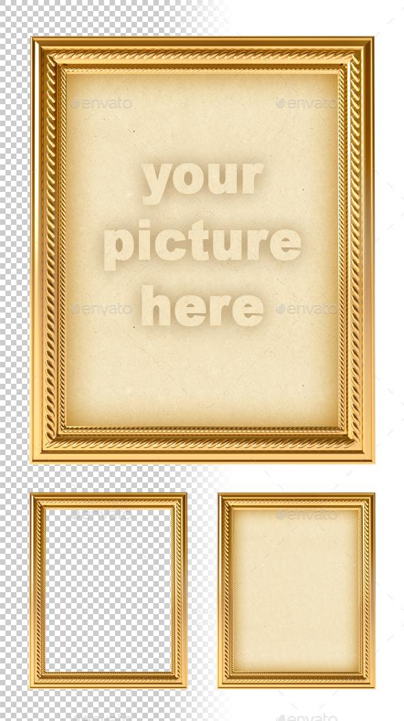 Golden Empty Frame - Objects 3D Renders