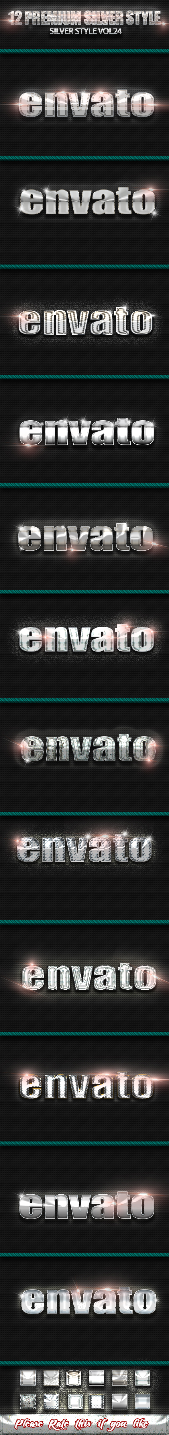 12 Photoshop SILVER Text Effect Styles Vol 24 - Text Effects Styles