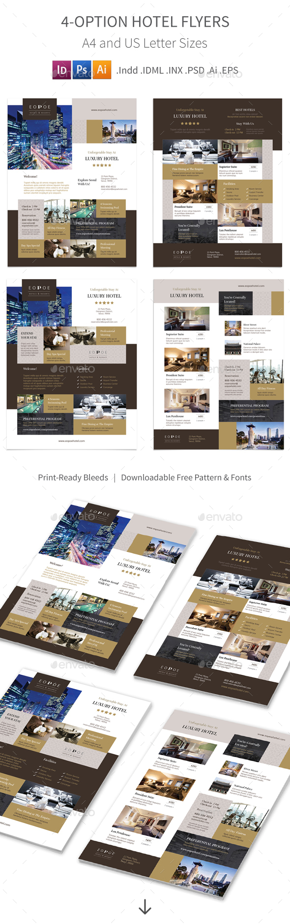 Hotel Flyers 5 – 4 Options - Corporate Flyers