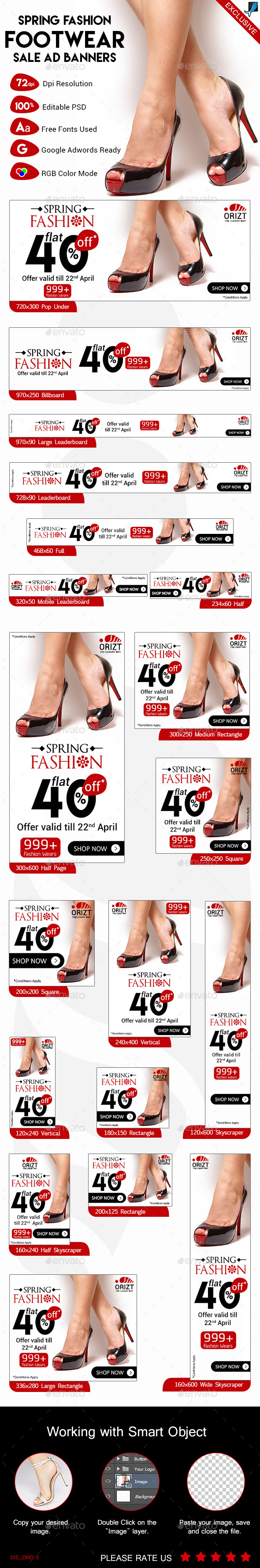 Spring Fashion Footwear Sale  Ad Banners - Banners & Ads Web Elements
