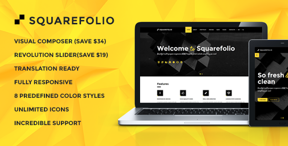 Squarefolio – Business Multipurpose WordPress Theme