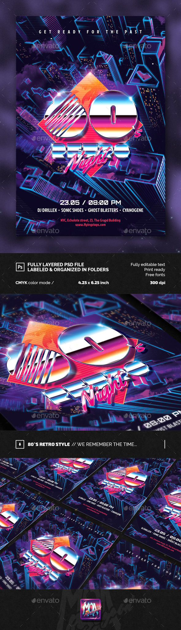 80`s Retro Night Party Flyer - Clubs & Parties Events