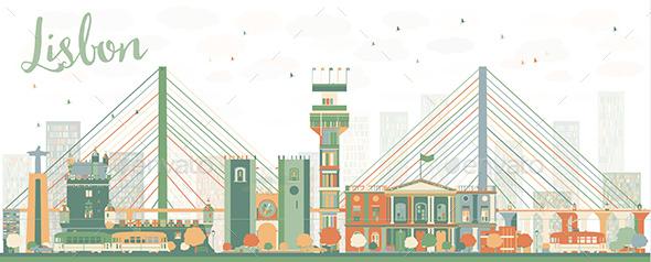 Abstract Lisbon City Skyline - Buildings Objects