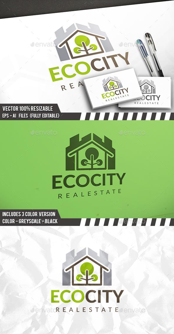 Eco City Logo Template - Buildings Logo Templates