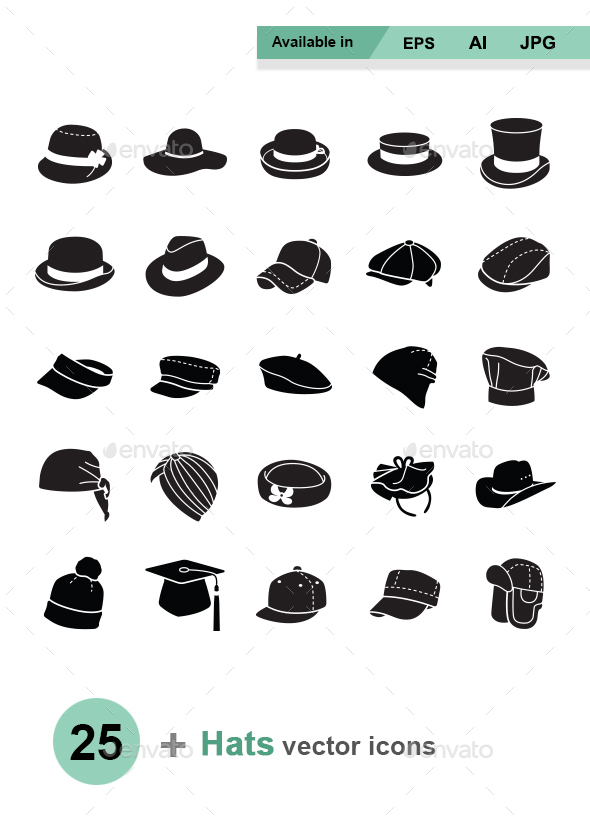 Hats vector icons - Man-made objects Objects
