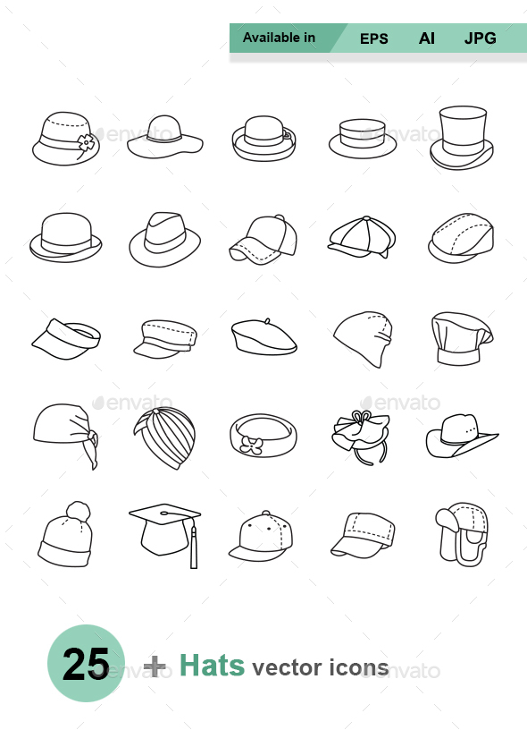 Hats Outlines vector icons - Man-made objects Objects