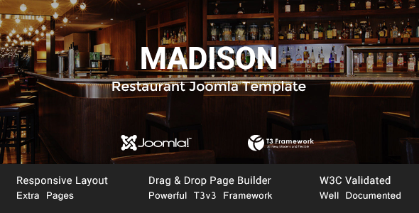Madison - Joomla Restaurant Template - Food Retail
