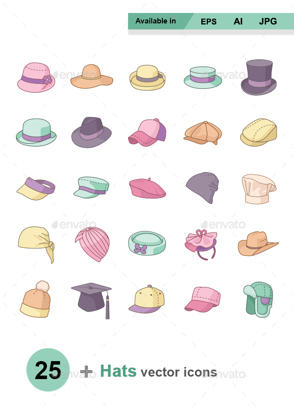 Hats Color vector icons - Man-made objects Objects