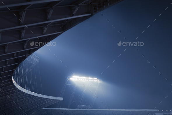View of stadium lights at night - Stock Photo - Images
