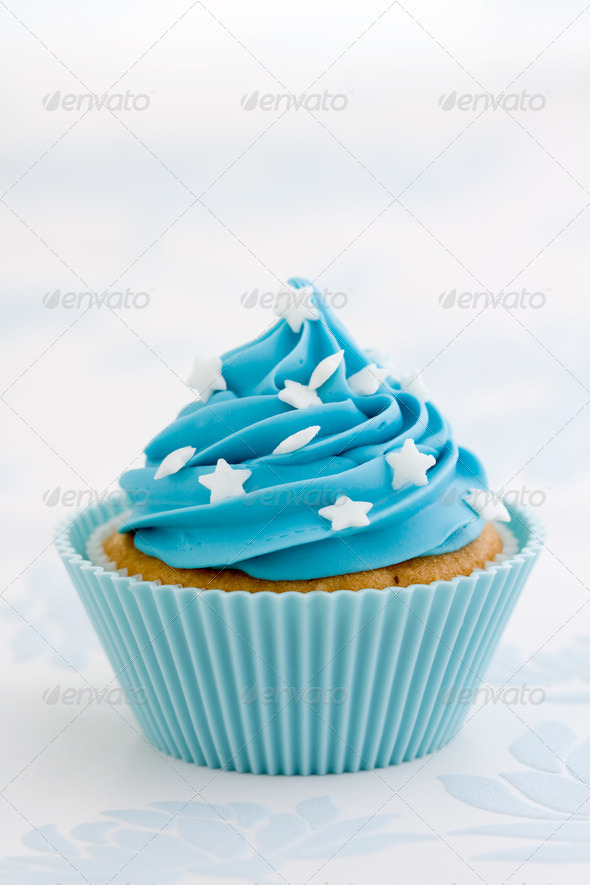 Blue cupcake - Stock Photo - Images